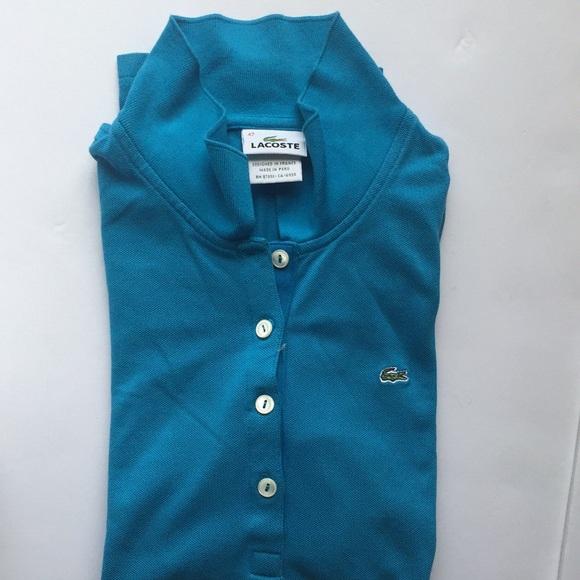 Blue Long Sleeve Lacoste Polo